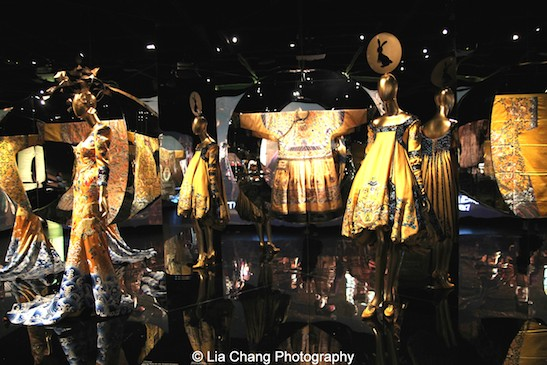 Designs from Laurence Xu and John Galliano on display with a Semiformal Robe for the Qianlong Emperor (1736-95) and a Formal Robe for the Tongzhi Emperor, 1862-1874.