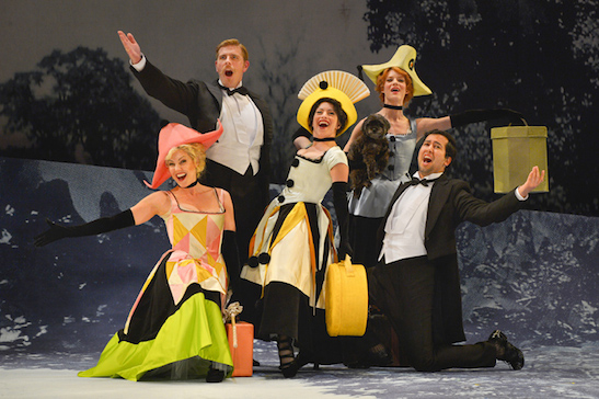(L-R): Mrs. Anderssen (Annemaria Rajala), Mr. Lindquist (Brandon Dahlquist), Mrs. Nordstrom (Christine Capsuto), Mrs. Segstrom (Caitlan Taylor) and Mr. Erlanson (Andres Ramirez) in Stephen Sondheim and Hugh Wheeler's A Little Night Music performing at A.C.T.'s Geary Theater May 20–June 14. Photo by Kevin Berne.