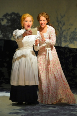 Petra (Marissa McGowan) and Anne Egerman (Laurie Veldheer) receive an invitation to a party at Madame Armfeldt's house in Stephen Sondheim and Hugh Wheeler's A Little Night Music performing at A.C.T.'s Geary Theater May 20–June 14. Photo by Kevin Berne.