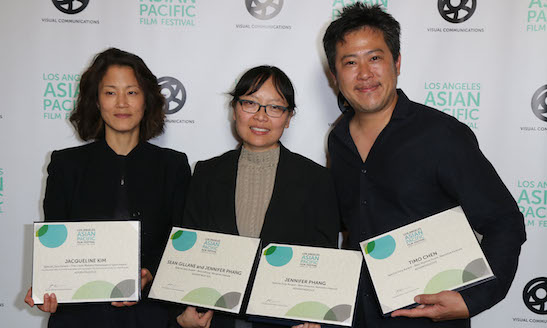THE TEAM FROM ADVANTAGEOUS, WINNER OF MULTIPLE AWARDS AT THE 2015 LAAPFF, CELEBRATES ON CLOSING NIGHT AT THE DGA. FROM LEFT TO RIGHT:  ACTRESS JACQUELINE KIM; DIRECTOR JENNIFER PHANG; COMPOSER TIMO CHEN. (PHOTO: STEVEN LAM)