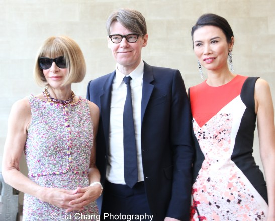 Vogue editor-in-chief Anna Wintour, Costume Institute curator Andrew Bolton and Wendi Murdoch attend the 'China: Through the Looking Glass' press preview at the Temple of Dendur at Metropolitan Museum of Art on May 4, 2015 in New York City. Photo by Lia Chang