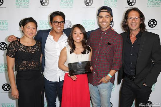 (L-R) Jenna Ushkowitz (Executive Prod. of TWINSTERS; Co-Founder of KINDRED FOUNDATION; Actress on GLEE), Ryan Miyamoto (Co-Director/Producer/Cinematographer), Samantha Futerman (Co- Director/Prod. and Docu Subject; Co-Founder of KINDRED FOUNDATION), Kanoa Goo (Producer), Jeff Consiglio (Producer/Editor). Photo credit: Steven Lam Photo courtesy of: LAAPFF/StevenLamPhoto.com