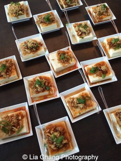 Baohaus Szechuan Silken Tofu- fried shallots, spicy radish, scallions, Szechuan vinegar sauce. Photo by Lia Chang