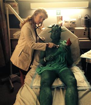 Betty Gilpin and Garth Kravits on the set of Nurse Jackie in November, 2014