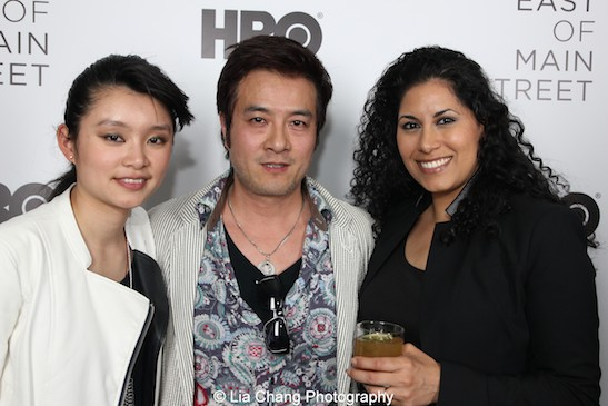 Revenge of the Green Dragon actors Celia Au and Shing Ka with HBO Latino writer/producer Estefanía Szprengiel attend HBO's screening of East of Main Street: Taking the Lead at Root (Drive-In) in New York on May 6, 2015. Photo by Lia Chang