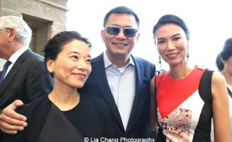 Esther, her husband filmmaker Wong Kar-Wai and Wendi Murdoch attend the 'China: Through the Looking Glass' press preview at the Temple of Dendur at Metropolitan Museum of Art on May 4, 2015 in New York City. Photo by Lia Chang