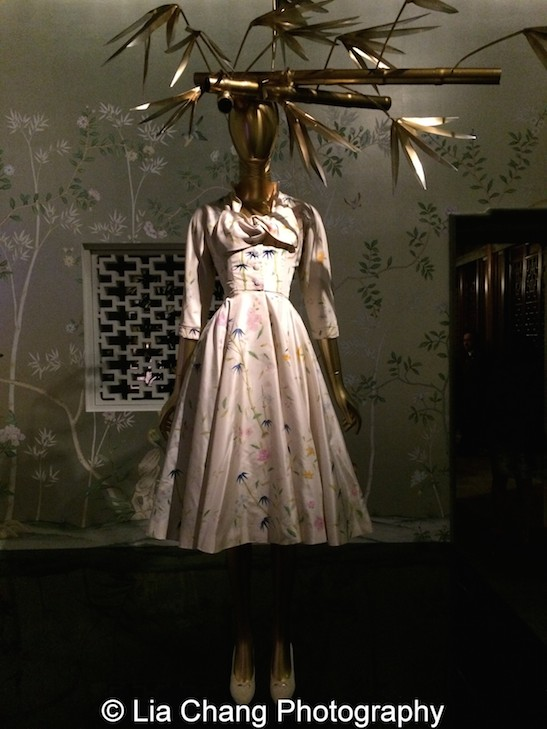 Cristobal Balenciaga Ensemble from 1955–56 of  White silk taffeta hand-painted with polychrome floral motifs