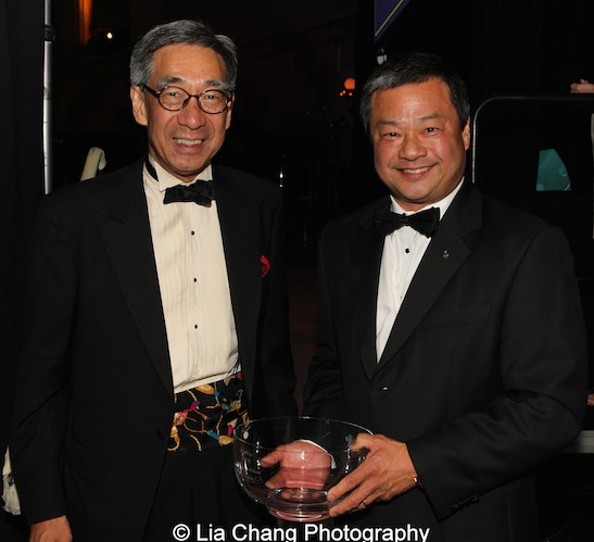 Chien Chung (Didi) Pei presented Dr. Leroy Chiao with the Blue Cloud Award at the China Institute's Blue Cloud Gala at Gotham Hall in New York on May 29, 2015. Photo by Lia Chang