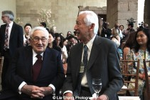 Dr. Henry Kissinger and Oscar Tang attend the 'China: Through the Looking Glass' press preview at the Temple of Dendur at Metropolitan Museum of Art on May 4, 2015 in New York City. Photo by Lia Chang