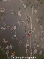 """Portobello"" wallpaper on Electrum gilded paper by de Gournay. Photo by Lia Chang"