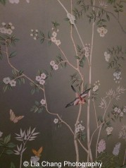"""Portobello"" wallpaper on Electrum gilded paper by de Gournay. Photo by Lia Chang"