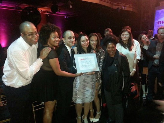 Horse Trade Theater Group / The Fire This Time Festival  receives a $2,500 OBIE Grant at the 2015 Obie Awards at Webster Hall in New York on May 18, 2015. Photo courtesy of Horse Trade Theater Group/Facebook