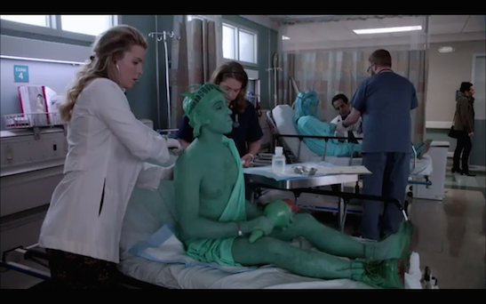 (L-R) Betty Gilpin as Doctor Carrie Roman, Garth Kravits as Reed, Merrit Weaver as Nurse Zoey Barkow, Stephen Wallem as Nurse Thor Lundgren, Kat Seelos as Donna and Tony Shalhoub as Doctor Bernard Prince in Showtime's