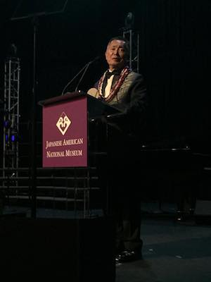 George Takei accepting his Distinguished Medal of Honor for Lifetime Achievement and Public Service at the 2015 Japanese American National Museum Gala Dinner on May 2, 2015. Photo courtesy of JANM/Facebook