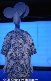 Gallery view, Chinese Galleries, Frances Young Tang Gallery, Blue and White Porcelain. Giambattista Valli (Italian, born 1966), Coat, autumn/winter 2013 haute couture, White and blue-printed silk faille, embroidered with navy, blue, and white silk thread, clear synthetic sequins, crystals, and appliqué of blue and white silk organza, Courtesy of Giambattista Valli. Photo by Lia Chang