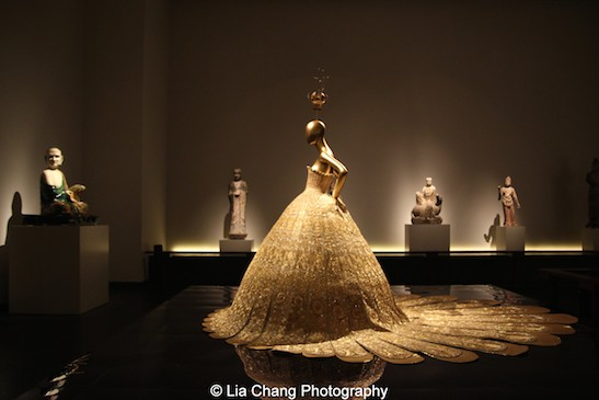 A gold lame evening gown by the Chinese couturier Guo Pei from 2007.