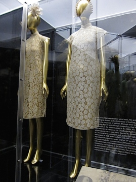 Chu Hongsheng (Chinese, born 1918), Cheongsams, 1930s, Worn by Hu Die (Butterfly Wu, Chinese, 1908-1989) Cream silk lace Courtesy of Collection Hanart 1918, Shanghai. Photo by Lia Chang