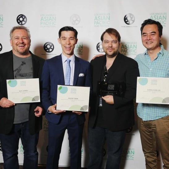 JASMINE winners include Guy Livneh (Best Cinematography), Jason Tobin (Best Actor), director Dax Phelan (Grand Jury Prize for Best Narrative Feature) and Chris Chan Lee (Best Editor) at The Los Angeles Asian Pacific Film Festival. Photo courtesy of Chris Chan Lee/Facebook