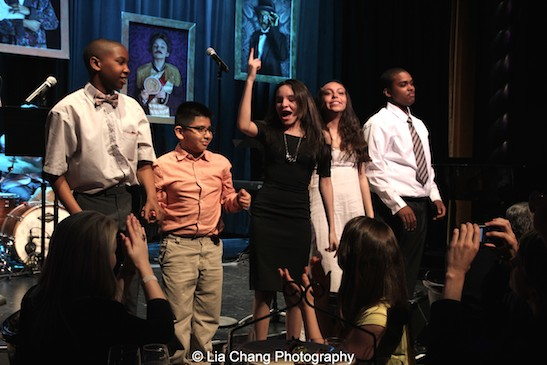 Lyricists Justin Bannister, Ethan Zenteno, Jayda Camacho, Stasia Bree Quiñones, Chamel Rodney take a bow after the performances at The 52nd Street Project's Fancy That Benefit at The Edison Ballroom in New York on May 4, 2015. Photo by Lia Chang