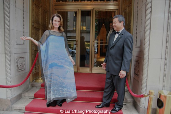 Karen Chiao and Dr. Leroy Chiao attend the China Institute's Blue Cloud Gala at Gotham Hall in New York on May 29, 2015. Karen surprised Leroy by having a photo that he took of China and the Gobi Desert from space printed on fabric and transformed into a gown. Photo by Lia Chang