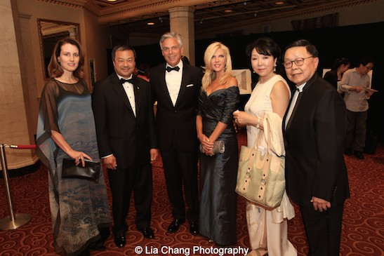 Karen Chiao, Dr. Leroy Chiao, Jon Huntsman Jr., Mary Kay Huntsman, Anla Cheng, Henry Tang attend the China Institute's Blue Cloud Gala at Gotham Hall in New York on May 29, 2015. Photo by Lia Chang