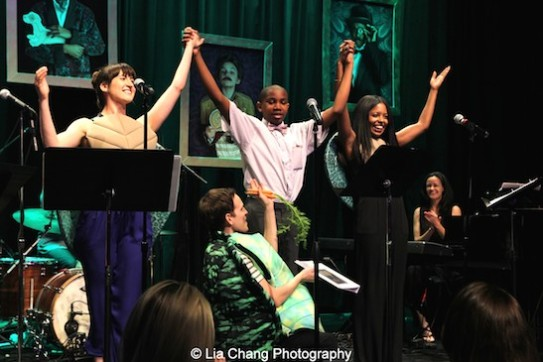 Kendal Hartse, Justin Bannister, Adrienne Warren and Taylor Trensch at The 52nd Street Project's Fancy That Benefit at The Edison Ballroom in New York on May 4, 2015. Photo by Lia Chang