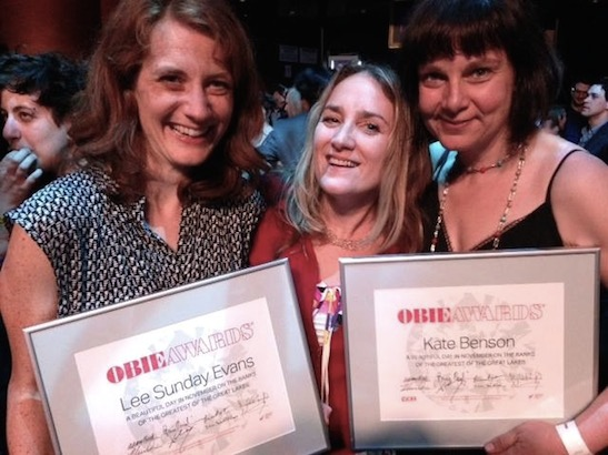 New Georges Producing Artistic Director Susan Bernfield is flanked by Kate Benson (writer), and Lee Sunday Evans (director) of A Beautiful Day in November on the Banks of the Greatest of the Great Lakes who received special citations at the 2015 Obie Awards at Webster Hall in New York on May 18, 2015. Photo courtesy of Susan Bernfield/Facebook