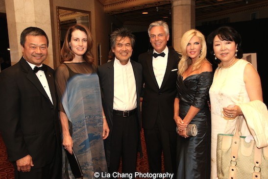 Dr. Leroy Chiao, Karen Chiao, David Henry Hwang, The Hon. Jon Huntsman, Jr., Mary Kaye Huntsman, Anla Cheng attend the China Institute's Blue Cloud Gala at Gotham Hall in New York on May 29, 2015. Photo by Lia Chang