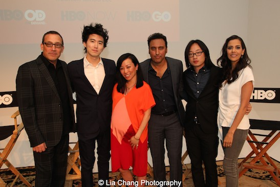 Executive producer Louis Tancredi, director Jonathan Yi, moderator Miss Info, actors Aasif Mandvi, Jimmy O. Yang and Sheetal Sheth attend HBO's screening of East of Main Street: Taking the Lead at Root (Drive-In) in New York on May 6, 2015. Photo by Lia Chang