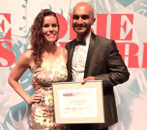 Malena Mai and her husband Obie Award winner Usman Ally at the 60th Annual Obie Awards at Webster Hall in New York on May 18, 2015. Photo courtesy of Usman Ally/Facebook