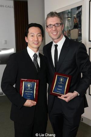 Michael K. Lee and Lorenzo Thione at the Craig Noel Awards on February 4, 2013 in La Jolla, CA. The new musical Allegiance, which had its World Premiere at the Old Globe in September of 2013, took home the top award, for Outstanding New Musical, along with two other awards, for Outstanding Featured Performance Male (Michael K. Lee), and Outstanding Orchestrations. Photo by Lia Chang