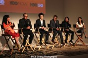 Moderator Miss Info, executive producer Louis Tancredi, director Jonathan Yi, actors Aasif Mandvi, Jimmy O. Yang and Sheetal Sheth attend HBO's screening of East of Main Street: Taking the Lead at Root (Drive-In) in New York on May 6, 2015. Photo by Lia Chang