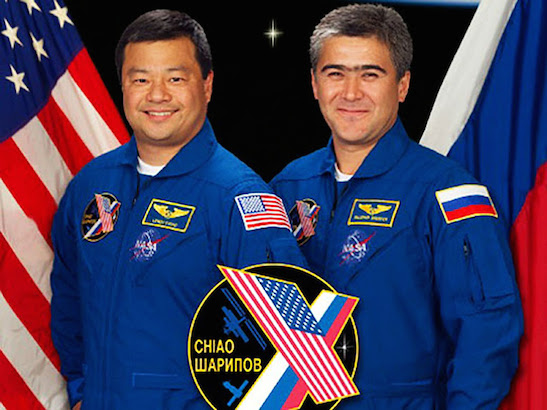 NASA astronaut Leroy Chiao, left, and Russian cosmonaut Salizhan Sharipov served on Expedition 10 (2004-2005) in the International Space Station. Photo courtesy of NASA