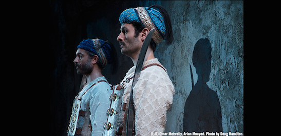 Omar Metwally and Arian Moayed in Atlantic Theater Company's world premiere of Rajiv Joseph's Guards at the Taj. Photo by Doug Hamilton