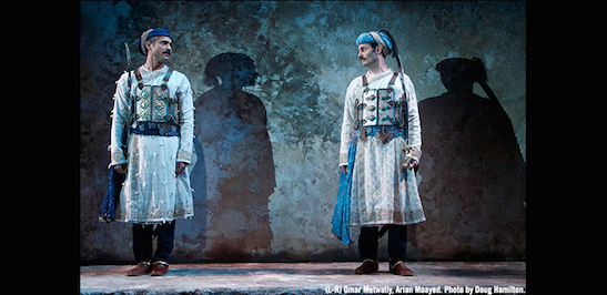 Omar Metwally and Arian Moayed in Atlantic Theater Company's world premiere of Rajiv Joseph's Guards at the Taj. Photo by Doug Hamilton