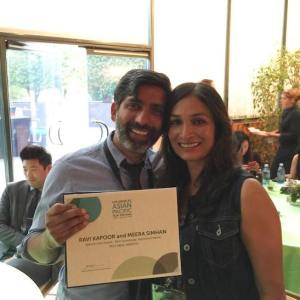 Miss India America's Ravi Kapoor and Meera Simhan win for Best Screenplay. Photo courtesy of Miss India America/Facebook