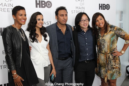 Jackie Gagne, Vice President of Multicultural Marketing, HBO, actors Sheetal Sheth, Aasif Mandvi, Jimmy O. Yang and Lucinda Martinez, SVP of Multicultural Marketing, HBO attend HBO's screening of East of Main Street: Taking the Lead at Root (Drive-In) Studio in New York on May 6, 2015. Photo by Lia Chang