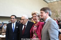 Financier Silas Chou, Dr. Henry Kissinger, Museum President Emily K. Rafferty, Metropolitan Museum of Art Director Thomas P. Campbell, attend the 'China: Through the Looking Glass' press preview at the Temple of Dendur at Metropolitan Museum of Art on May 4, 2015 in New York City. Photo by Lia Chang
