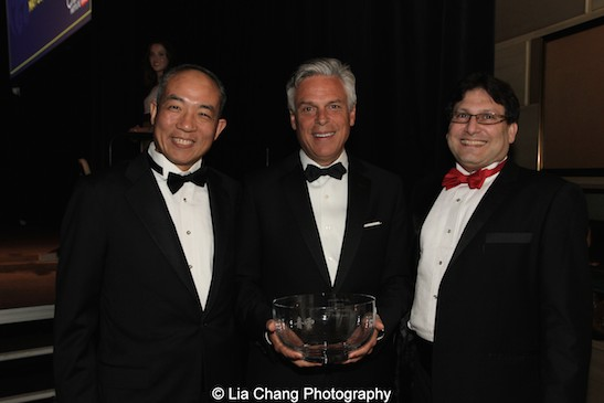Theodore T. Wang, The Hon. Jon Huntsman, Jr., China Institute president James B. Heimowitz attend the China Institute's Blue Cloud Gala at Gotham Hall in New York on May 29, 2015. Photo by Lia Chang