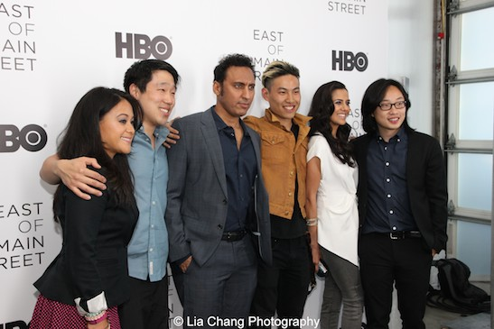 Veronica Reyes-How, Raymond J. Lee, Aasif Mandvi, Tobias Wong, Sheetal Sheth and Jimmy O. Yang attend HBO's screening of East of Main Street: Taking the Lead at Root (Drive-In) in New York on May 6, 2015.. Photo by Lia Chang