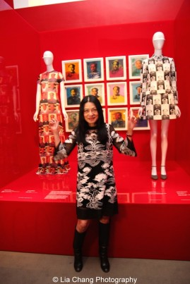 """Vivienne Tam (American, born Guangzhou), """"Mao Portrait Dress,"""" spring/summer 1995 Polychrome printed nylon mesh, The Metropolitan Museum of Art, Gift of Vivienne Tam, 2004 (2004.521.1); Andy Warhol, Mao © 2014 The Andy Warhol Foundation for the Visual Arts, Inc. / Artists Rights Society (ARS), New York Acrylic and silkscreen on canvas; """"Mao Suit,"""" spring/summer 1995, White and black polyester jacquard, Courtesy of Vivienne Tam. Photo by Lia Chang"""