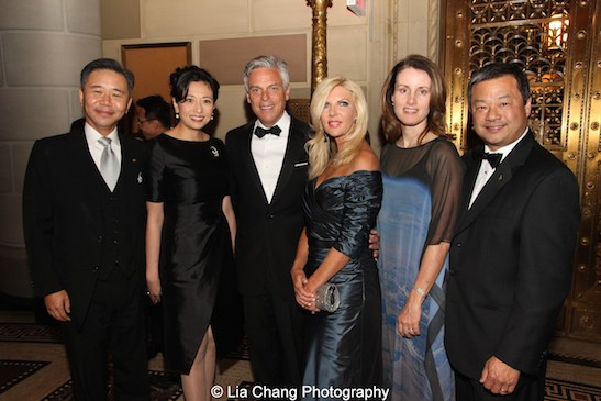 Blue Cloud honorees Walter Wang and his wife Shirley Wang, honoree Jon Huntsman Jr. and his wife Mary Kaye Huntsman, Karen Chiao and her husband honoree Dr. Leroy Chiao attend the China Institute's Blue Cloud Gala at Gotham Hall in New York on May 29, 2015. Photo by Lia Chang
