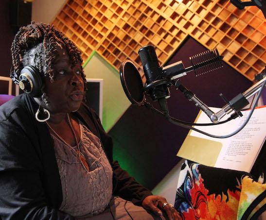 Ebony Jo-Ann in the recording studio. Photo by Lia Chang