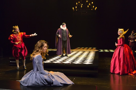 Andrew Long, Brittany Vicars, Edward James Hyland, and Kate Forbes in Hamlet at Hartford Stage. Photo by T. Charles Erickson.
