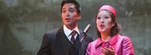 Jose Llana and Ruthie Ann Miles in Here Lies Love. Photo by Joan Marcus
