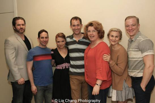 The cast of Grounded for Life - Aaron Ramey, Garth Kravits, Maxine Linehan, Michael Keyloun, Klea Blackhurst, Eloise Kropp, Ryan Worsing backstage at The York in New York on June 26, 2015. Photo by Lia Chang