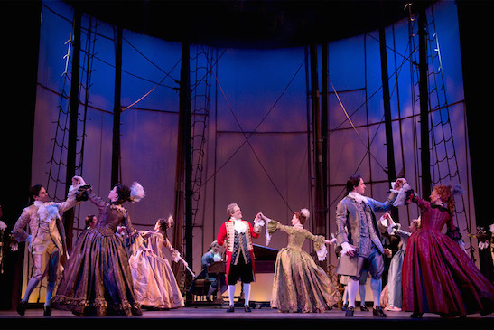 Pictured (center): Chris Hoch, Erin Mackey, and the ensemble of Amazing Grace. Photo: Joan Marcus
