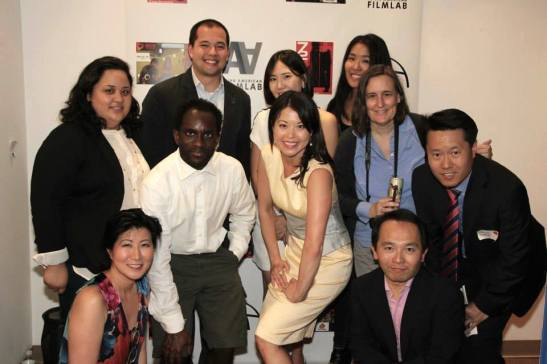Film Lab management team- Cecilia Mejia (Unfinished Works), Daryl King (Secretary and Board Member), Jennifer Betit Yen (President and Board Member, founder of AAFL TV Production Arm), Nick Sakai (Industry Spotlight), Youn Jung Kim (2015 72 Hour Shootout Coordinator), Edwin Wong (Board Member), director Berth Bay-Sa Pan and guests at the 72 Hour Shootout Launch party at The Korea Society in New York on June 4, 2015. Photo by Lia Chang