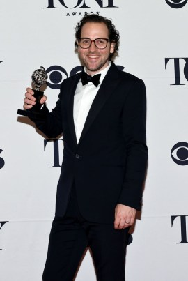 """NEW YORK, NY - JUNE 07: Sam Gold, winner of the award for Best Direction of a Musical for """"Fun Home,"""" poses in the press room at the 2015 Tony Awards on June 7, 2015 in New York City. (Photo by Andrew H. Walker/Getty Images for Tony Awards Productions)"""