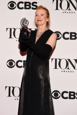 """NEW YORK, NY - JUNE 07: Catherine Zuber, winner of the award for Best Costume Design of a Musical for """"The King and I,"""". poses in the press room at the 2015 Tony Awards on June 7, 2015 in New York City. (Photo by Andrew H. Walker/Getty Images for Tony Awards Productions)"""